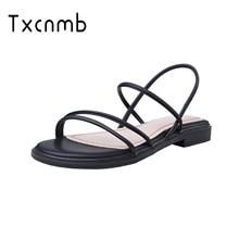 TXCNMB 2020 sandalias de verano de cuero genuino de las mujeres zapatos de mujer zapatos de moda sandalias casuales de confort zapatillas blanco negro Mujer Sandalias