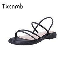 TXCNMB 2020 الصيف الصنادل النساء أحذية من الجلد الحقيقي امرأة الموضة صندل كاجوال النعال الراحة أبيض أسود الإناث الصنادل