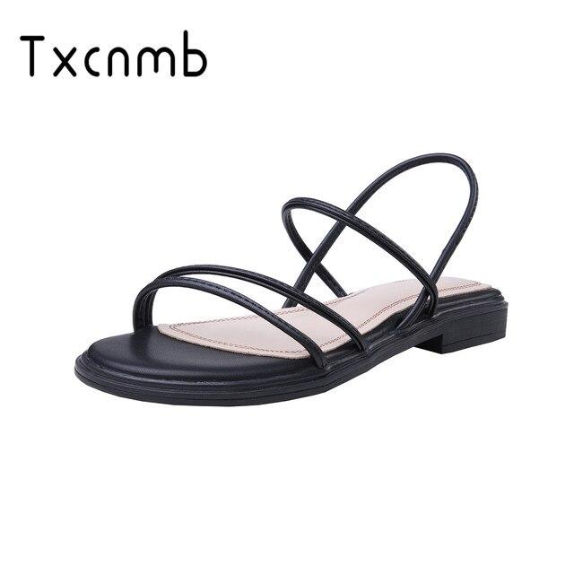 Женские сандалии из натуральной кожи TXCNMB, удобные повседневные сандалии, белые, черные, для лета, 2020