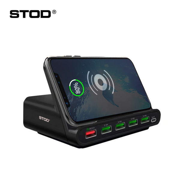 STOD Qi Wireless Charger USB Charging Staition 60W Quick Charge 3.0 Holder For iPhone X Samsung Huawei Nexus Mi USB-C AC Adapter