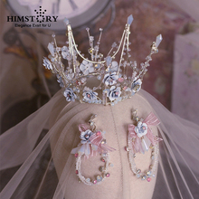 Handmade Romantic Princess Wedding Tiaras Crown Light Blue Blossom Flower Pageant Prom Headband Hair Accessories