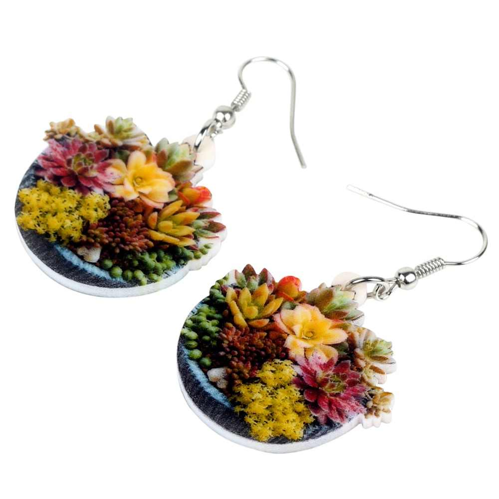 WEVENI Acrylic Cartoon Succulent Plant Bonsai Earrings Drop Dangle Pot Flower Cactus Herb Plant Jewelry For Women Girl 2018 Gift