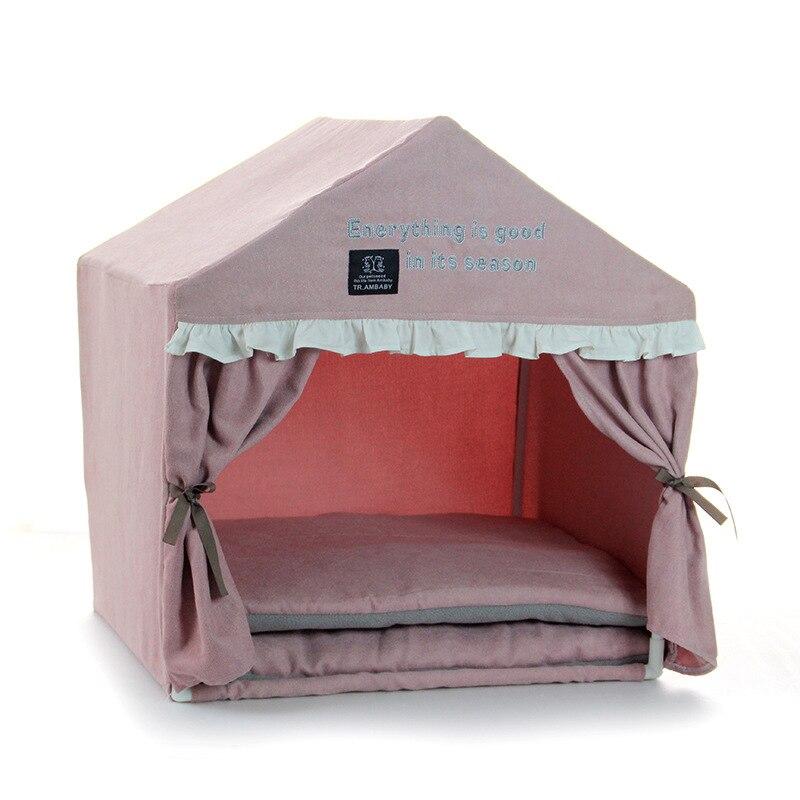 Rose princesse Camping maison pour chiens hiver chaud Pet petites races maison chenil avec tapis couvertures pour chiots Animal chat Pitbull