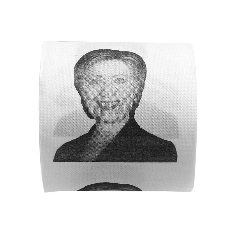 Free Shipping 1Pc Hillary Clinton Smile Toilet Paper Roll Gag Prank Joke Gift 2 Ply 240 Sheet