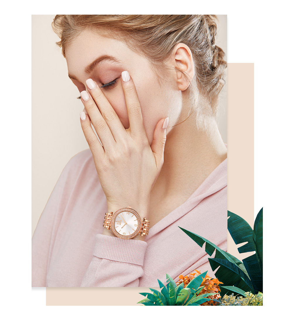 Shengke Rose Gold Creative Quartz Watch Women Earrings Necklace 2019 SK Ladies Watches Jewelry Set Luxury Gift Relogio Feminino