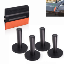FOSHIO 5pcs Strong Magnet Vinyl Film Car Holders Fixer Styling Tools Kit Wrap Window Tint Magnetic Suede Squeegee