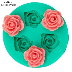 LINSBAYWU Mini 3D Food-grade Silicone Mold Rose Flower Shapes Cake Chocolate Candy Jello Silicone Decorating Moulds 4.8x 4.8cm