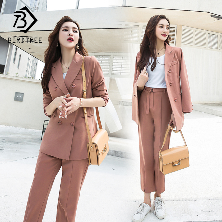 Women's Office Lady Two Pieces Solid Elegant Double Breasted Turn-down Collar Blazers Trouesrs With Sashes New Suits S88713Y