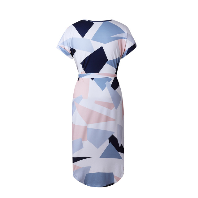 Geometric Print Dress Women V Neck Short Sleeve 2017 Woman Summer Dresses Casual Sashes Robe Midi Dress Ladies Elegant Vestidos