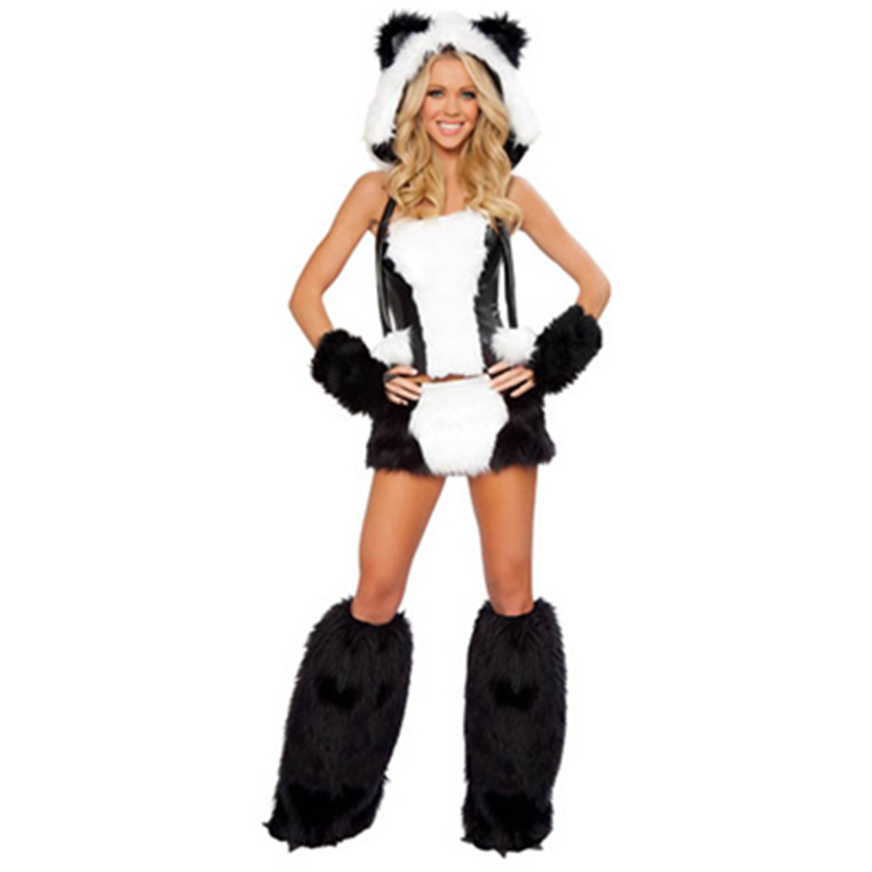 Soft Faux Fur Fun Sexy Panda Bear Corset And Skirt Animal Adult Fancy Dress Halloween Easter Girls Costume L1324