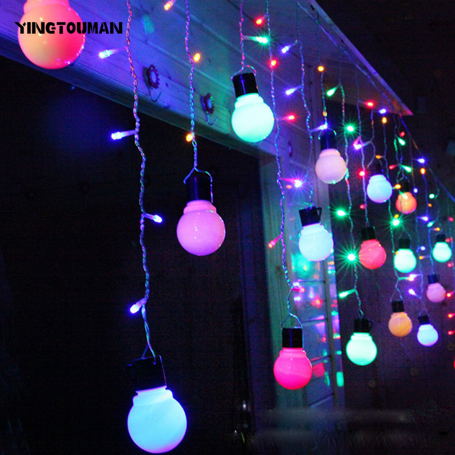 YINGTOUMAN Romantic Droop Ball String Lights Garden Lamp Christmas Party Festival Holiday Decorative Lightings 0.5*1.5m 48LED