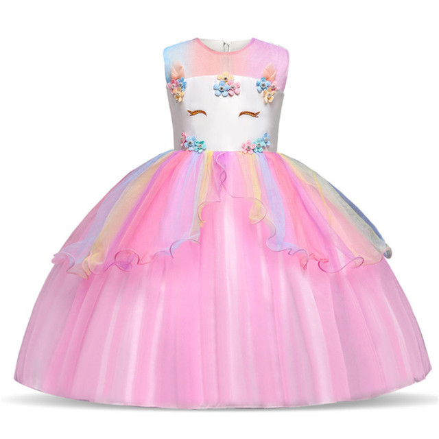 91e1174929113 New Kids Unicorn Rainbow Dress For Girls Children Birthday Party Ball Gowns  Toddler Girlie Horse Princess Costumes Teens Frocks