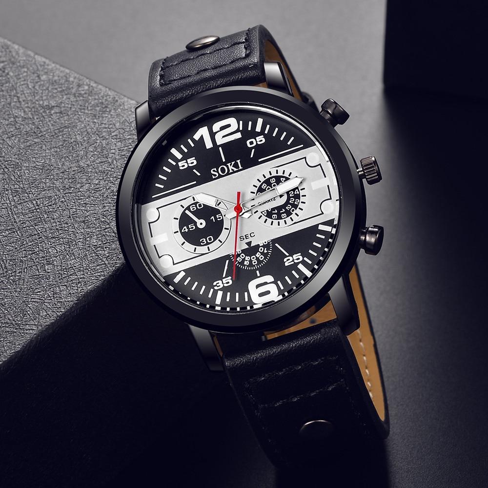 Couple Fashion Leather Band Analog Quartz Round Wrist  Men's Watch Wrist Party Decoration Business Watch Gif For Male Man
