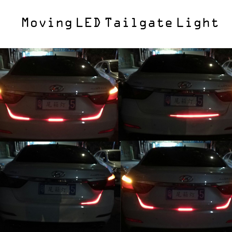 hopstyling Car styling 120CM Car Tail Brake Stop Turn Signal Integrated LED Daytime Running Light Strip 12V auto accessory universal flexible strip motorcycle light strip led amber tail brake stop turn signal light license plate lamp decoration