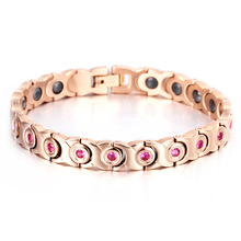 Fashion Romantic Jewelry Healing Magnetic Ceramic Bracelet Golden For Men Or Women Free Shipping