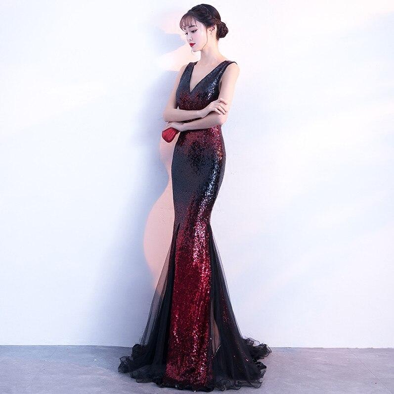 Robes De soirée sirène longues 2019 paillettes Robe De soirée Sexy col en v robes De bal Elie Saab robes Abiye - 3