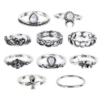 10pcs/lot Punk Style Moon Flower Elephant Pattern Knuckle Ring Tribal Ethic Hippe Stone Joint Finger Ring Ring Set image