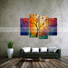 Canvas Paintings On Golden Flowers Tree Oil Abstract Artwork Wall Art For living Room,Dinning Room Home Decor