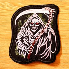 DIY Punk Patch Grim Reaper Embroidered Patches For Clothing Iron On Clothes Rock Hippie Biker Badges Applique