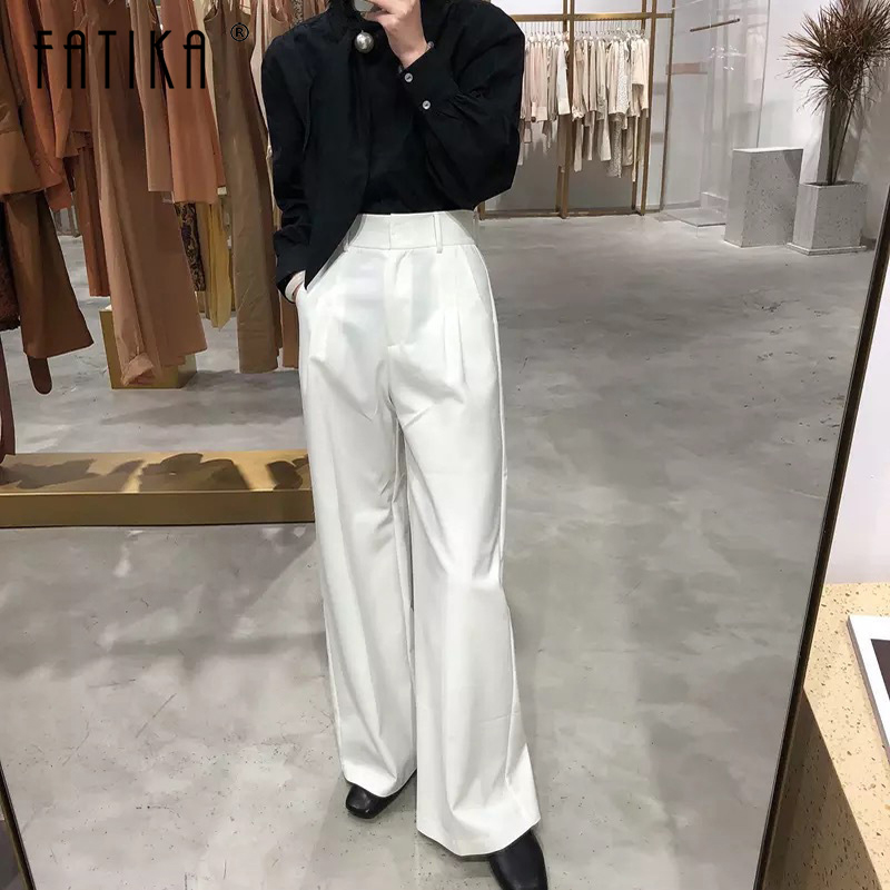 Fatika Women Spring Autumn   Wide     Leg     Pants   Long   Pants   Loose Stylish High Waist Solid Loose Pockets Trousers 2019 Hot For Women