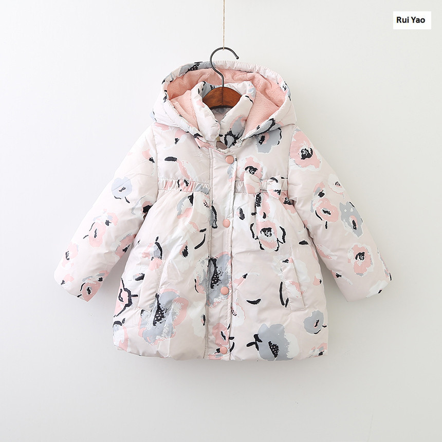 Y710156103 Girls Winter Jackets Fashion Girl Coat Floral Worm Girl Outerwear Kids Jacket Girls Parka Hoode Baby Jacket a15 girls jackets winter 2017 long warm duck down jacket for girl children outerwear jacket coats big girl clothes 10 12 14 year