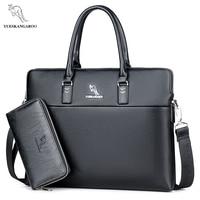 YUESKAN GAROO Brand Leather Men S High Quality Laptop Handbag Briefcases Crossbody Bags Business Messenger Bag