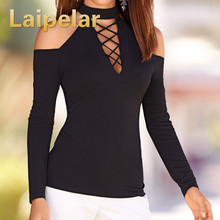 Women Cotton Cold Shoulder Slim Tops Long Sleeve Turtleneck Shirts Autumn Female Sexy Hollow Out Streetwear Top Shirts for Women цена и фото