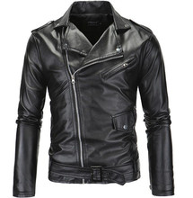 все цены на New Vintage Retro Motorcycle Jackets Men PU Leather Jacket Biker Punk Faux Leather Slim Classical Windproof Moto Jacket онлайн