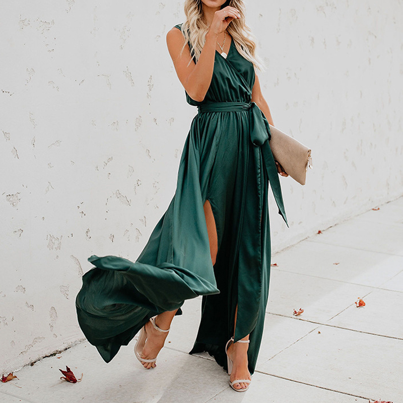 Women Summer Maxi Dresses For Women 2019 Split Sexy Sleeveless Bandage V-Collar Long Dress Green Loose Party Club Sundress Dress