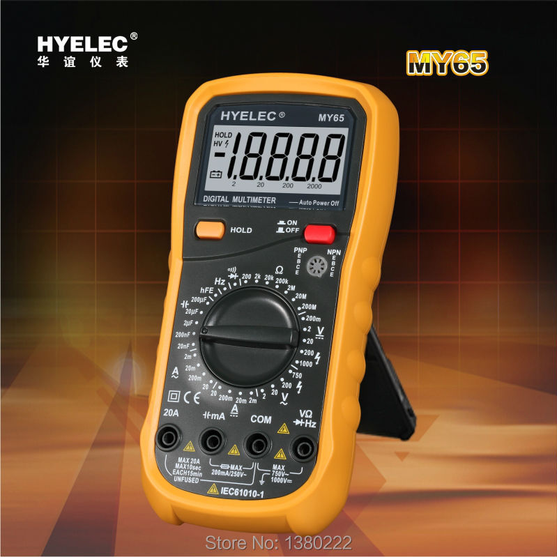 ФОТО HYELEC MY65 Digital Multimeter AC/DC Voltage Current Resistance Capacitance Frequency Tester Ammeter Multitester Free shipping