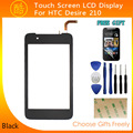 Black colors For HTC Desire 210 4.0'' Original Touch screen glass Digitizer Original panel replacement +Tools+Film+Adhesive