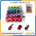 RASTP-Liga de Alumínio Porcas de Fixação Da Roda RAIOS VOLK Racing Lug Nuts Comprimento 35 MM 12x1.5/1.25 LS-LN005