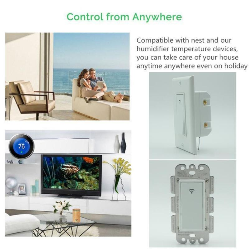 120 Type 1 Gang AC 100-240V Smart WIFI LED Light Switch Wall Panel Mobile APP Remote Control Works for Alexa Google Home IFTTT