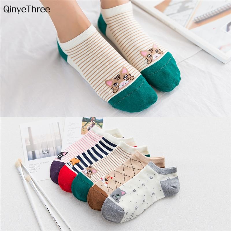 Summer Soft   Socks   Cartoon CAT comfortable cotton bamboo fiber girl women's   socks   ankle   sock   female candy color hosier 1pair=2pcs
