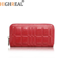 HIGHREAL New Design Fashion Multifunctional Purse Genuine Leather Wallet Women Long Style Cowhide Purse Wholesale And Retail Bag