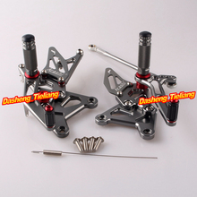 Rearset Rear Set Footpegs For Kawasaki Ninja ZX6R ZX636 2005 2006 Aluminum Alloy Grey,  Adjustable