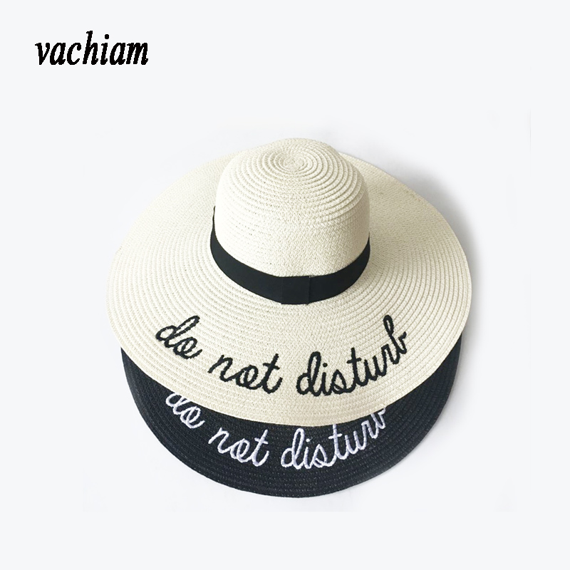 vachiam 2018 Letter Embroidery Cap Big Brim Ladies Summer Straw Hat Youth Hats For Women Shade sun hats Beach hat Free Delivery