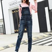 Women Jumpsuit Denim Overalls 2019 Spring Autumn Fashion Strap Ripped Pockets Full Length Jeans Jumpsuit Plus Size 5XL