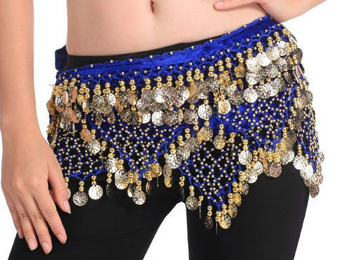 Wholesale BELLY DANCE HIP Scarves 320 Piece Coins Gold & Silver  -black Colors