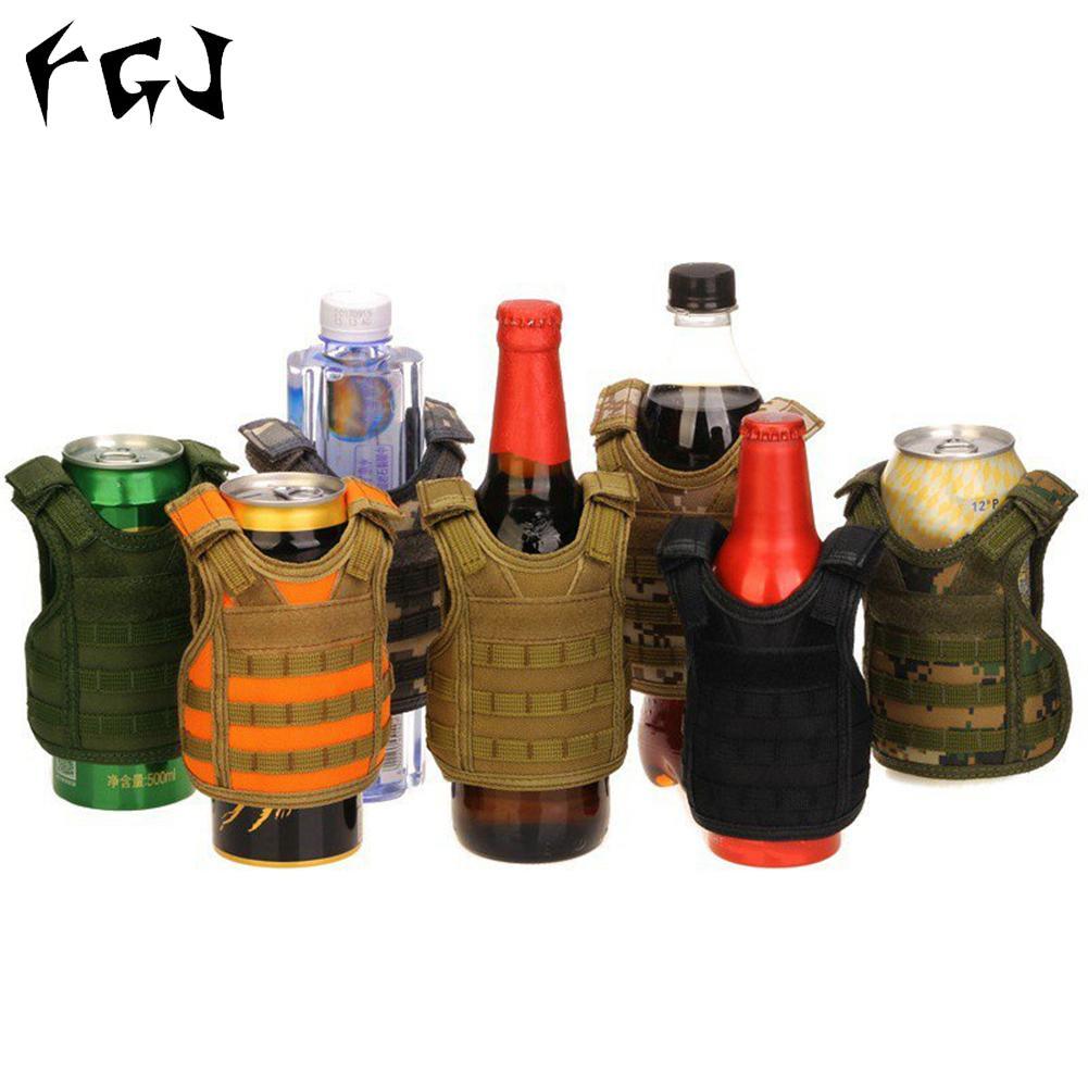 HobbyLane FGJ Adjustable Miniature Molle Vest Beer Water Bottle Mini Vest Outdoor Beverage Cooler Holder
