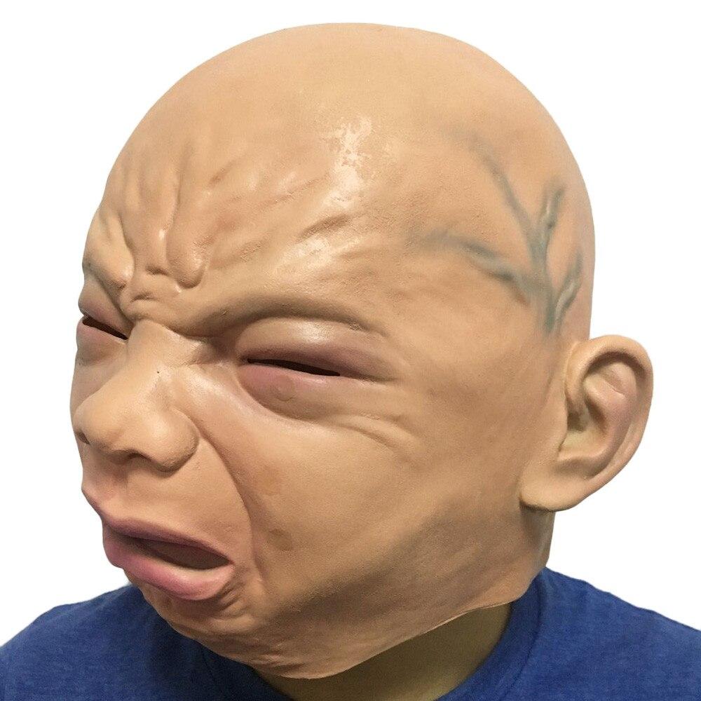 Creepy Halloween Prop Cry Baby Full Head Latex Rubber Masquerade ...