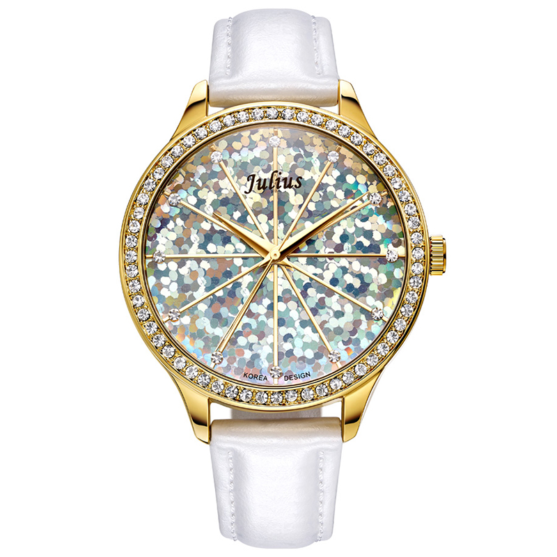 5 Colors Lady Woman Watch Japan Quartz Hours Best Fashion Dress Bracelet Rainbow Mermaid Scale Leather