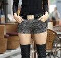 Высокая талия шорты 2014 осень и зима шорты feminino женщин тонкая талия шерстяные шорты женский свободного покроя короткий большой размер бесплатная доставка
