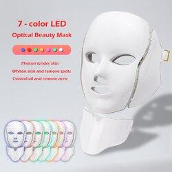 7 cores led terapia máscara facial led coreano fóton terapia máscara facial máquina de terapia de luz acne máscara pescoço beleza led máscara