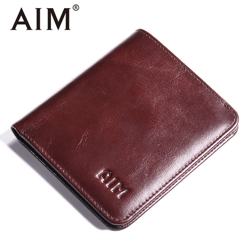 AIM Mens Small Wallet 100% Genuine Leather Men Purse Male Compact Slim Short Wallets For Men Cowhide Card Holder Carteira A292 williampolo mens mini wallet black purse card holder genuine leather slim wallet men small purse short bifold cowhide 2 fold bag