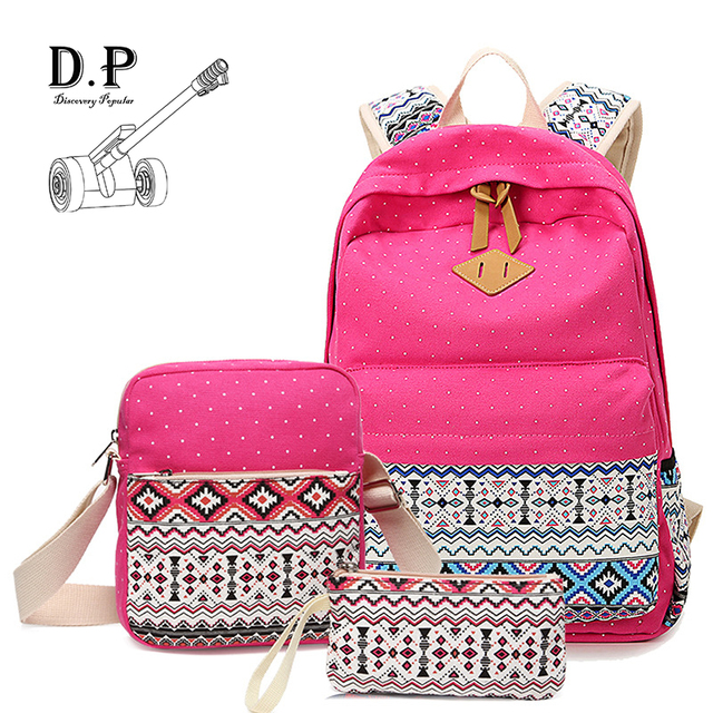 D.P. retro girl 3 in 1 backpack school bag for adolescent cute ...