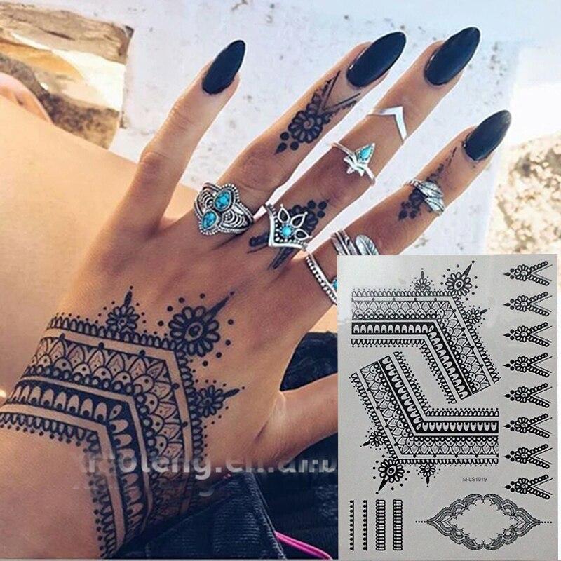 The Most Popular Black Henna Tattoos Temporary Inspired Body Tattoos Stickers