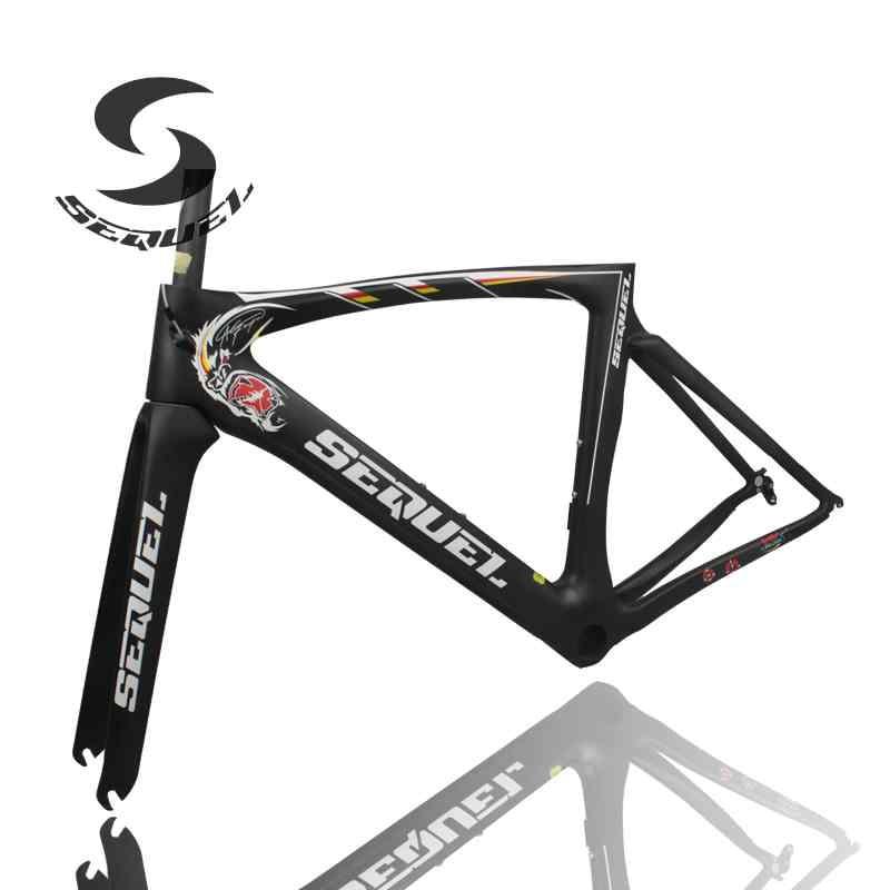 SEQUEL 100% carbon fiber road frame King Kong LOGO carbon bicycke V brake UD/1k Chinese bike frame cheap matte finished