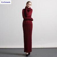Cộng với kích thước Phụ Nữ dệt kim len áo thun váy mùa thu làm việc bình thường sexy bodycon pencil maxi dresses jersey vestido S-4XL 7079