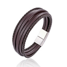 MINCN Stainless steel leather rope braided bracelet multi-layer black men